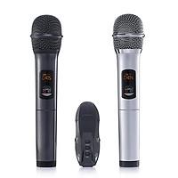 Micro Karaoke không dây Excelvan K18U, 02 mic, UHF (Xám, Đen) - Hàng Chính Hãng