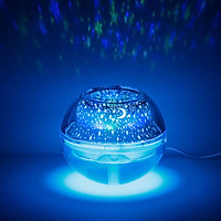 Đèn Chiếu Sáng Ban Đêm Nhiều chế độ màu Và Khuếch tán tinh dầu, Tạo Độ Ẩm USB Crystal Night Light Projection Humidifier 500ml