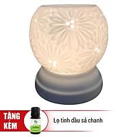 Đèn Xông Tinh Dầu Gốm Bát Tràng Hướng Dương + Tặng 01 Lọ Tinh Dầu Sả Chanh (10mL) - Hàng Chính Hãng