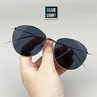 Kính Râm, Kính Mát Nam Nữ Mắt Tròn Gọng Bạc Mắt Đen Thanh Mảnh Hàn Quốc - BLUE LIGHT SHOP