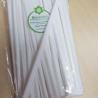 100 ống hút giấy Biogreen trắng có bọc giấy từng ống