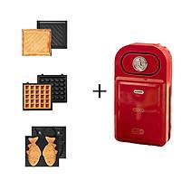 Máy Nướng Bánh mì Sandwich/Waffle đa năng 2 Khay Rán Trứng Xúc Xích Có Chế Độ Hẹn Giờ Tiện Lợi, Kèm Quyển Công Thức + Chổi