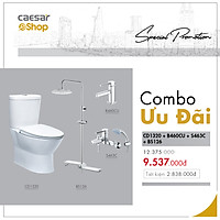 Combo sản phẩm bàn cầu+vòi lavabo+sen tắm+bộ phụ kiến sen tắm đứng - CD1320+B460CU+S463C+BS126