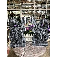 Cặp Rồng đứng phong thủy đá cẩm thạch vân đen - Cao 30 cm