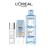 Bộ dưỡng ẩm thoáng mịn L'Oreal Paris (UV Perfect SPF50 PA+++ 30ml + Crystal Micro Essence 22ml+ Micellar Water 400ml)
