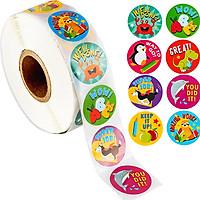 Cuộn 500 sticker nhãn dán khích lệ khen thưởng học tập cho bé yêu với nhiều họa tiết kèm slogan khiến những giờ học thêm sinh động – ST010