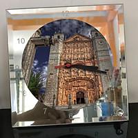 Đồng hồ thủy tinh vuông 20x20 in hình Cathedral - nhà thờ chính tòa (72) . Đồng hồ thủy tinh để bàn trang trí đẹp chủ đề tôn giáo