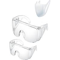Combo 2 mắt kiếng nam và nữ chống tia UV, ngăn bụi, chống giọt bắn ngừa vi khuẩn, cản gió bảo vệ mắt, kính bảo hộ trong suốt  (tặng khẩu trang vải)