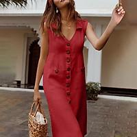 Đầm cotton mùa hè Linen không tay có nút túi Cổ điển