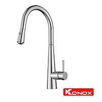 Vòi rửa bát rút dây Konox, Model KN1901C, Inox 304AISI tiêu chuẩn châu Âu, mạ PVD 5 lớp sáng bóng, Hàng chính hãng