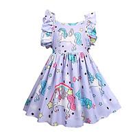 Váy Kỳ Lân Bé Gái Dễ Thương Mùa Hè Váy Kỳ Lân In Hình Hoạt Hình Váy Sao Cầu Vồng Cho Bé Gái 4-10 Tuổi