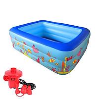 Bể bơi phao 3 tầng cho bé size 130x85x55cm ( giao màu ngẫu nhiên )Tặng kèm bơm điện 2 chiều