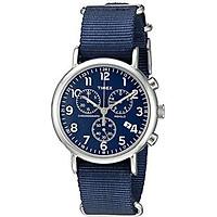 Timex Men's TW2R42800 Weekender Chrono Black/Cream Two-Piece Leather Strap Watch