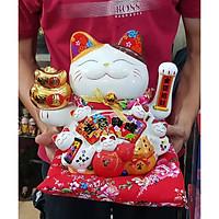 Mèo Thần Tài tay vẫy 25cm - Bụng quạt Ngũ Phúc tay cầm 2 thỏi vàng (tặng kèm 50 xu vàng mini may mắn) MIXU014