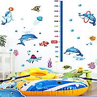 Decal dán tường thước đo chiều cao cho bé thước cá heo ngộ nghĩnh sk9034