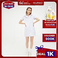 Đầm dáng suông nữ thiết kế kẻ sọc cổ vest màu xanh trẻ trung GUMAC DB524