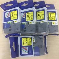 Combo 5 cuộn nhãn in TZ2-611 tiêu chuẩn - Chữ đen trên nền vàng 6mm - Hàng nhập khẩu