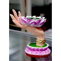 Tượng bàn tay Phật nâng hoa sen cao 12cm