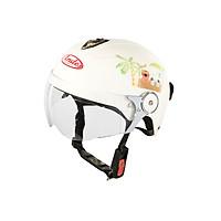 Mũ Bảo Hiểm Andes Trẻ Em Có Kính - 3S108SK Tem Bóng S96 - Trắng