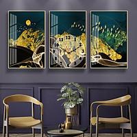 Tranh treo tường, tranh đồng hồ NT190 bộ 3 tấm ghép