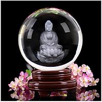 Quả cầu pha lê Phật A Di Đà 3D tặng kèm đế pha lê trang nhã