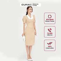 Đầm dáng ôm nữ thiết kế cố chữ V phối lá cổ kết hợp tay ngắn xếp ly cách điệu GUMAC DB527