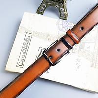 Thắt lưng công sở da bò cháy 3 lớp khóa kim BL111LEA (Brown) - Size 34mm; 100% da bò thật