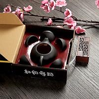 Bộ bình trà 4 tách Nhật Bản - có màu đen và đỏ giao ngẫu nhiên
