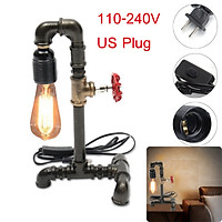 E27 110-240V Industrial Steampunk Iron Tap Pipe Lamp Desk Lamp Bed Table Light