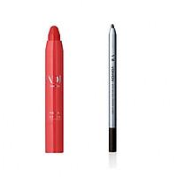 Bộ trang điểm VDIVOV son môi bút chì Mega Stick [Red] SMOKE RED 2.5g và chì kẻ mắt dạng gel Eye On Gel Pencil Liner PK101 (Pearl) 0.5g