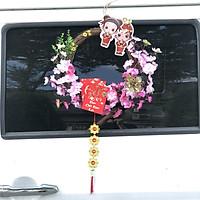 Vòng  hoa đào trang trí tết H02