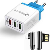 Củ Sạc Nhanh 3 Cổng Qualcomm Quickcharge 3.0 kèm dây sạc chuyên dụng cho mọi thiết bị - Màu ngẫu nhiên