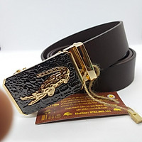 Thắt lưng nam da bò thật 100% cao cấp khóa tự động chính hãng Nhất Tính Leather N091, dây nịt da bò nguyên tấm bảo hành 05 năm về da