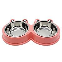 Bát đôi inox đựng thức ăn và nước uống cho chó mèo, thiết kế dễ thương