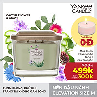 Nến ly vuông Elevation Yankee Candle size M - Cactus Flower & Agave (347g)