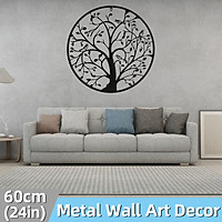 60cm/24inch Retro Style Birds Tree Metal Black Iron Sculpture Ornament for Home Living Room Wall Hanging Decoration Art Crafts