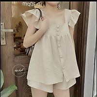Set đồ nữ mùa hè, bộ đồ nữ áo ba lỗ đính cúc dọc vải xốp 2 màu