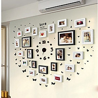 Combo Đồng Hồ và Bộ 23 Khung ảnh Composite Treo Tường phòng cưới KA2301 Miễn phí phụ kiện.