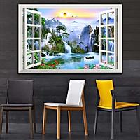 Bức tranh dán tường cửa sổ 3D in trên giấy ảnh với 2 lựa chọn bề mặt cán PVC gương hoặc cán bóng, mã số: 00400818L11