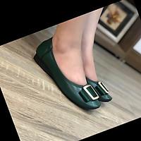 Giày búp bê mũi vuông cao cấp Thái Lan màu xanh Green đính khóa Squard siêu nhẹ, mềm mại, êm chân, thiết kế tinh tế, di chuyển dễ dàng và thoải mái