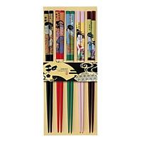 Bộ 5 đôi đũa họa tiết thiếu nữ Kimono Nội địa Nhật Bản