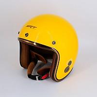 Mũ Bảo Hiểm 3/4 đầu SRT N168 Freesize - Lót nâu, viền bạc, khóa đỏ (Nhiều màu)