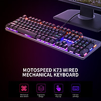 Bàn phím chơi game Motospeed K73 104 Phím Bàn phím cơ học hỗn hợp nhẹ với hiệu ứng ánh sáng RGB Bàn phím tiếng Anh có công tắc màu xanh lam