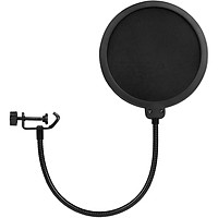 Fun Microphone Pop Filter Double Layered Sound Shield Swivel 360° Flexible Gooseneck Clip for Recording Broadcasting - black
