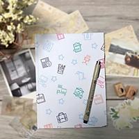 Sổ tay planner bullet journal A5 180 trang trắng trơn bìa họa tiết dễ thương P003