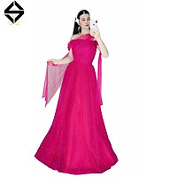 Đầm maxi dạ hội đính hạt cườm lưới nhũ toàn thân váy TRIBLE T DRESS-size M/L - MS145Y