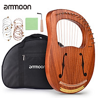 ammoon WH-16 16-String Wooden Lyre Harp Metal Strings Solid Wood String Instrument with Carry Bag Tuning Wrench Cleaning