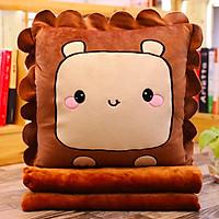 Bộ gấu gối mền GẤU VUÔNG 3 trong 1, gấu bông kèm chăn gối ngủ trưa văn phòng, du lịch, cho bé