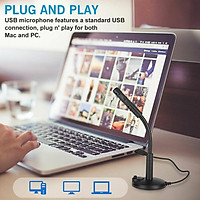 USB Microphone for Computer,Plug & Play Professional PC Microphone with Mute Button, Desktop Condenser Mic Compatible with Recording