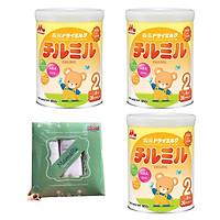 Combo 3 hộp Sữa Morinaga Số 2 - Chilmil (850g) - Tặng set 3 khăn tắm